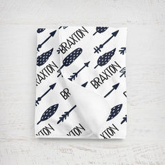 Boy's Personalized Arrow Swaddle or Fleece Blanket