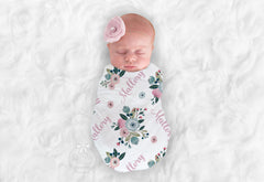 Girl's Personalized Blue & Blush Pink Floral Swaddle Blanket