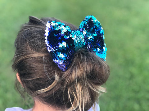 Girl's Mermaid Style Sequin Reversible Bow
