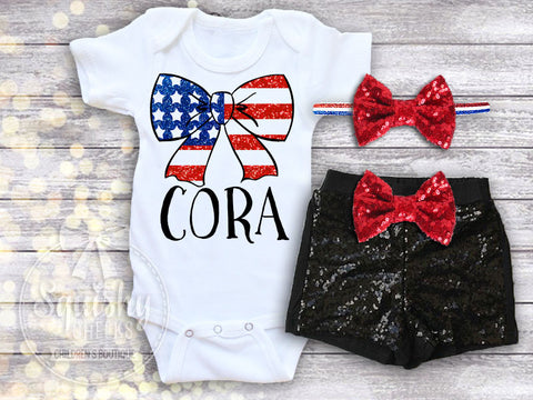 Girl's Personalized Bow 4th of July Outfit