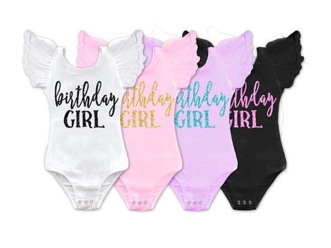 Birthday Girl Flutter Sleeve Bow Back Leotard