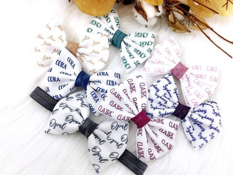 Girl's Personalized Name Hair Bow