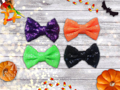 Girl's Halloween Sequin Bow Headband or Hair Clip