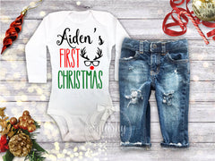 Boy's Personalized 1st Christmas Top