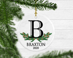 Boy's Personalized Monogram Ornament