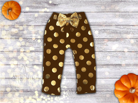 Brown and Gold Polka Dot Baby Leggings