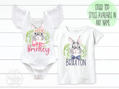 Personalized Girl Or Boy Easter Bunny Matching Sibling Top