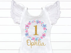 Girl's Personalized Butterfly Birthday Outfit
