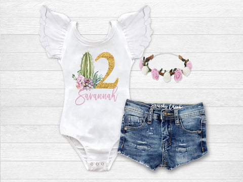 Girl's Personalized Cactus Succulent Birthday Outfit
