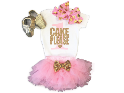 Girl's Pink and Gold Cake Please Birthday Outfit