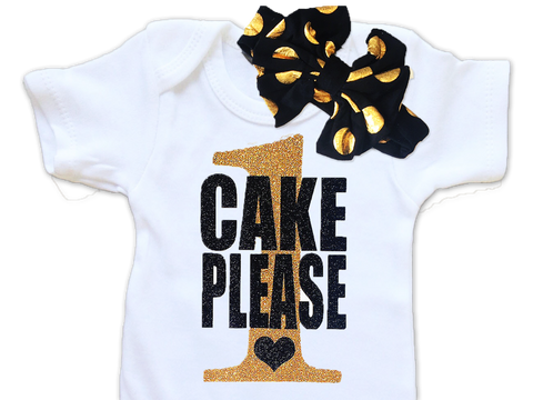 Black and Gold Cake Please Birthday Top