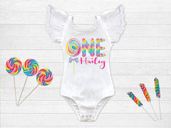 Girl's Rainbow Candy Personalized Birthday Top