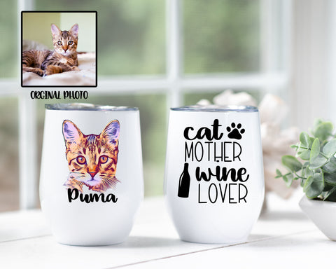 Custom Photo Cat Mother Wine Lover Tumbler