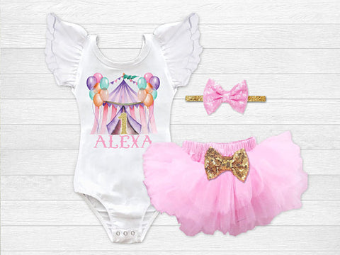 Girl's Personalized Circus Birthday Outfit