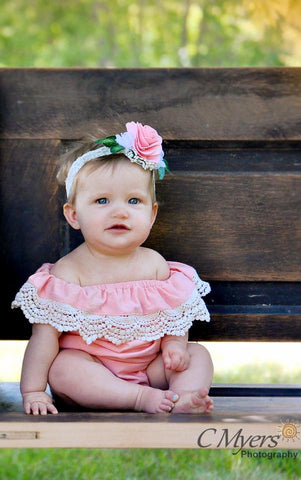 Girl's Off the Shoulder Crochet Romper Outfit