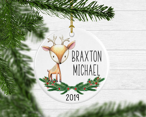Boy's Personalized Reindeer Ornament