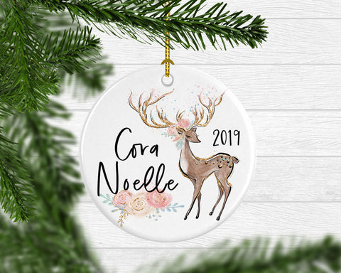 Girl's Personalized Deer Ornament