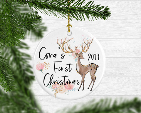 Girl's Personalized First Christmas Deer Ornament