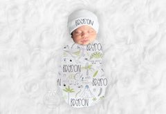 Personalized Dinosaur Baby Swaddle Blanket