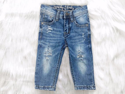 Squishy Cheeks Unisex Distressed Denim Jeans
