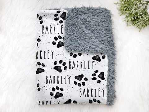 Personalized dog Paw Print Pet Blanket