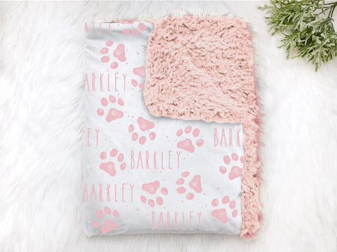 Pink Personalized Dog Paw Print Pet Blanket