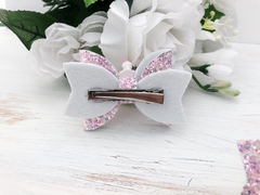 Girl's Rainbow Glitter Hair Bows