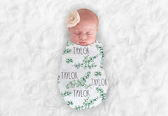 Personalized Eucalyptus Swaddle Blanket