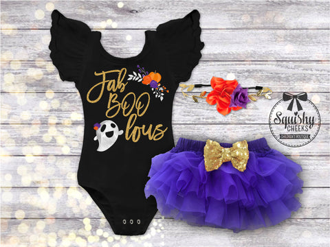 Girl's Short Sleeve Fab-BOO-lous Halloween Outfit