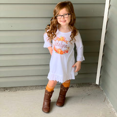 Girl's Personalized Pumpkin Fall Dress