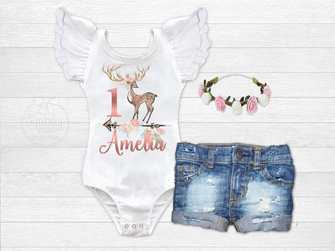 Girl's Personalized Fawn Birthday Outfit