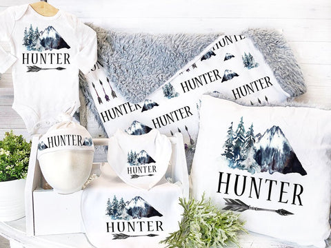 Boy's Personalized Mountians Gift Set