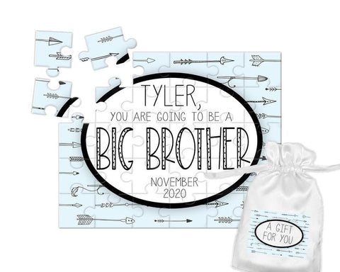 Boy's Personalized Big Brother Announcement Puzzle