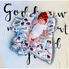 Boy's Personalized Buffalo Plaid Bear Baby Swaddle Blanket
