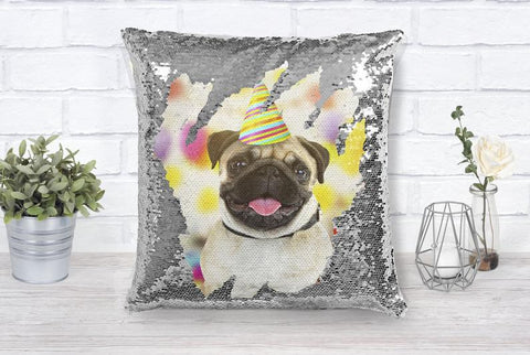 Personalized Pet Photo Sequin Pillow