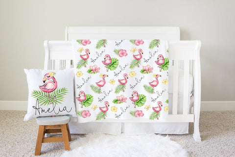 Personalized Flamingo Nursery Pillow