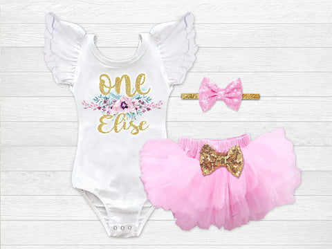 Girl's Personalized Floral Birthday Outfit