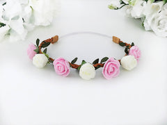 Pink and Ivory Baby Flower Crown Headband