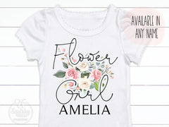 Girl's Personalized Flower Girl Crochet Trim Top