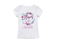 Girl's Personalized Flower Girl Floral Frame Top