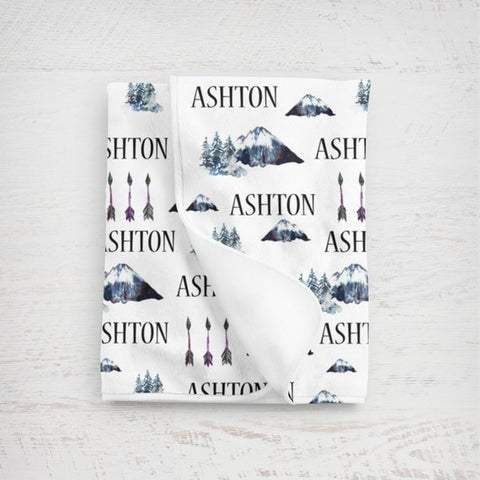Boy's Personalized Forest Swaddle Blanket