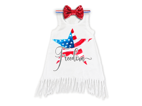 Girl's Freedom 4th of July Fringe Dress