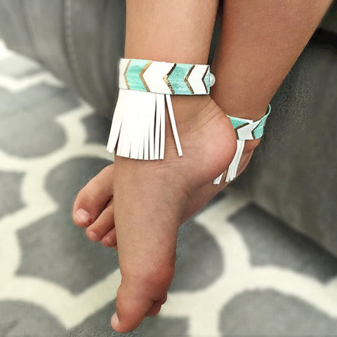 Aqua and White Fringe Anklets