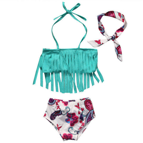 Paisley Fringe Two Piece Swimsuit w/ Headband