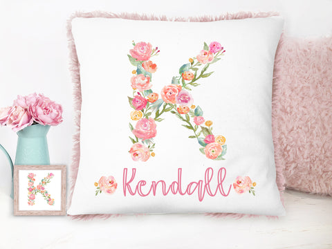 Personalized Floral Monogram Pink Plush Pillow