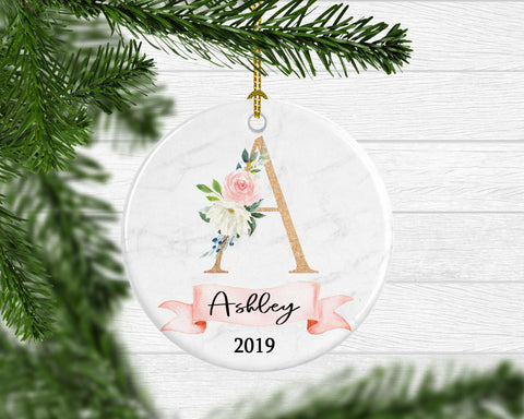 Girl's Personalized Boho Floral Monogram Ornament