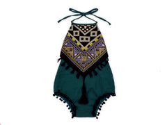 Hunter Green Aztec Halter Romper