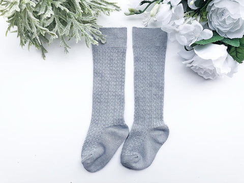 Grey Cable Knit Knee High Socks