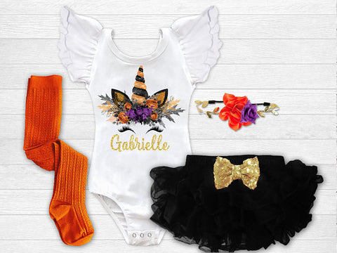 Girl's Personalized Unicorn Halloween Outfit