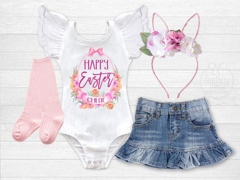 Girl's Personalized Happy Easter Outfit